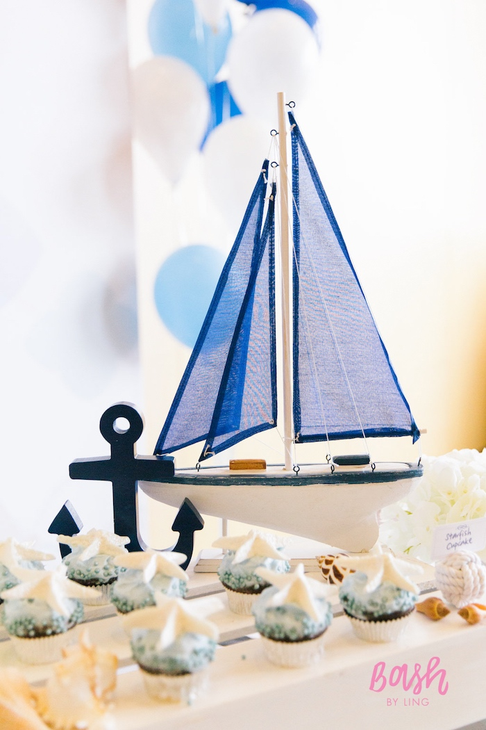 Nautical sailboat and anchor decorations from a Nautical Themed 100th Day Party via Kara's Party Ideas | KarasPartyIdeas.com (5)