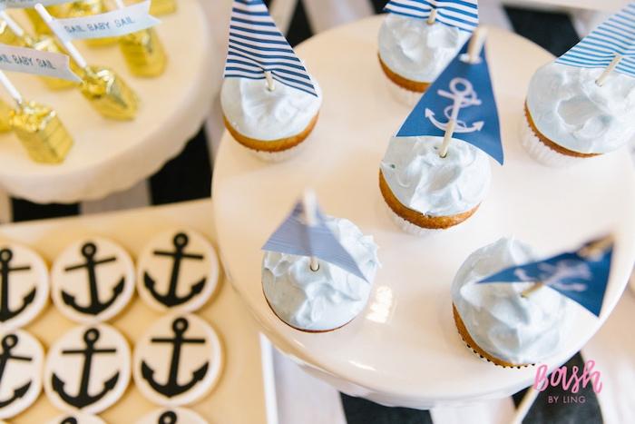 Cupcakes from a Nautical Themed 100th Day Party via Kara's Party Ideas | KarasPartyIdeas.com (4)