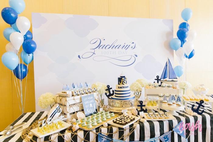 Dessert tablescape from a Nautical Themed 100th Day Party via Kara's Party Ideas | KarasPartyIdeas.com (2)