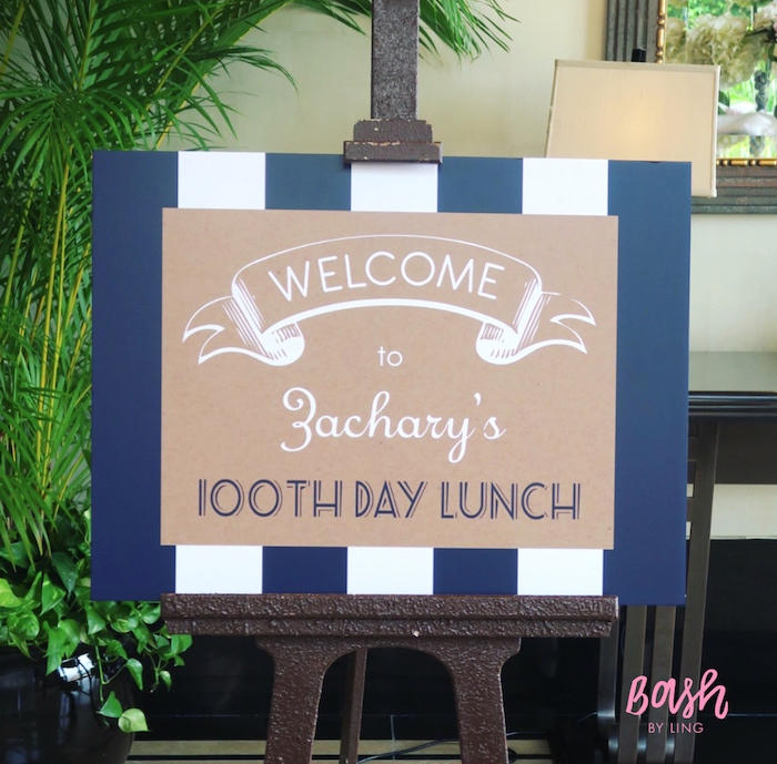 Welcome sign from a Nautical Themed 100th Day Party via Kara's Party Ideas | KarasPartyIdeas.com (27)