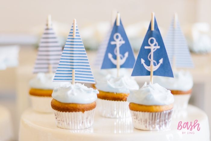 Sailboat cupcakes from a Nautical Themed 100th Day Party via Kara's Party Ideas | KarasPartyIdeas.com (26)