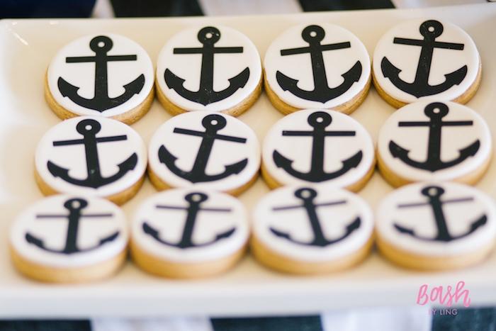 Anchor sugar cookies from a Nautical Themed 100th Day Party via Kara's Party Ideas | KarasPartyIdeas.com (25)