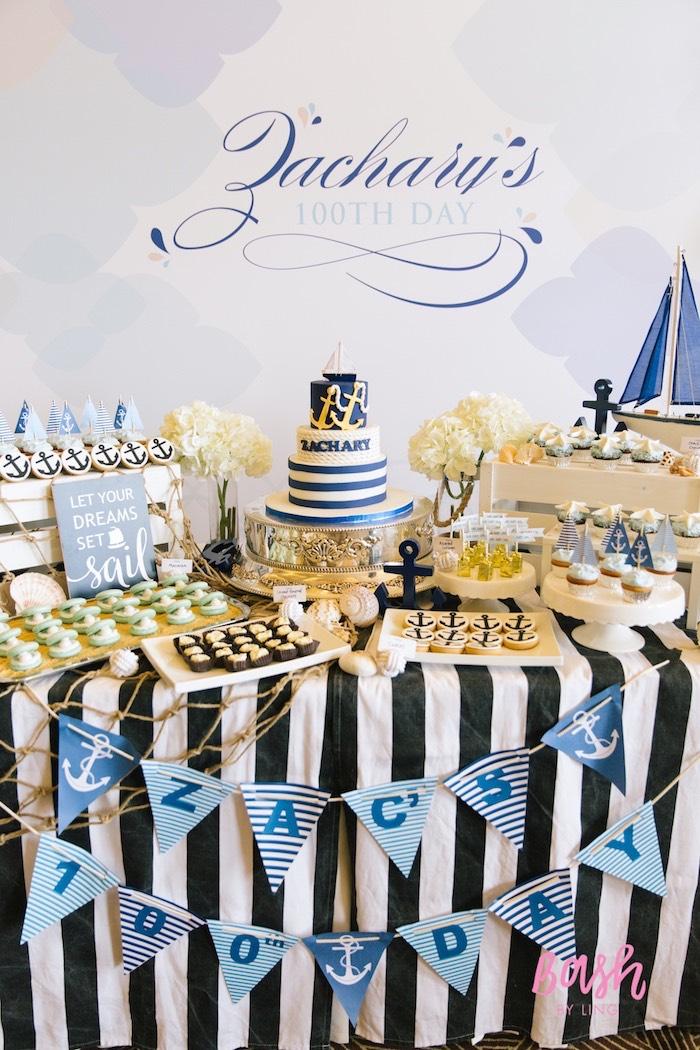 Full dessert table from a Nautical Themed 100th Day Party via Kara's Party Ideas | KarasPartyIdeas.com (23)