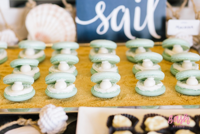 Seashell macarons with pearls from a Nautical Themed 100th Day Party via Kara's Party Ideas | KarasPartyIdeas.com (22)