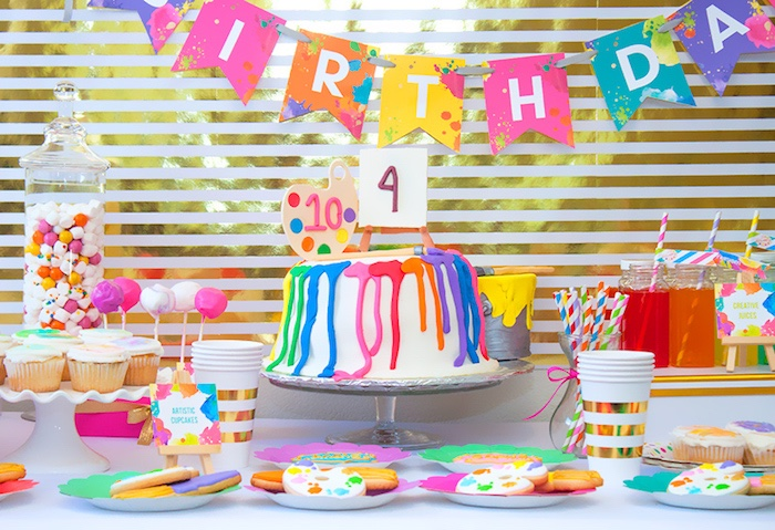 Art Party table from a Neon Art Themed Birthday Party via Kara's Party Ideas KarasPartyIdeas.com (13)