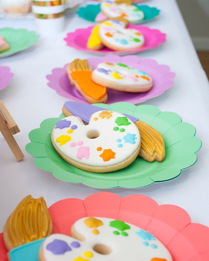 Paint palette and brush sugar cookies from a Neon Art Themed Birthday Party via Kara's Party Ideas KarasPartyIdeas.com (10)