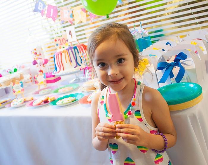 Birthday girl from a Neon Art Themed Birthday Party via Kara's Party Ideas KarasPartyIdeas.com (8)