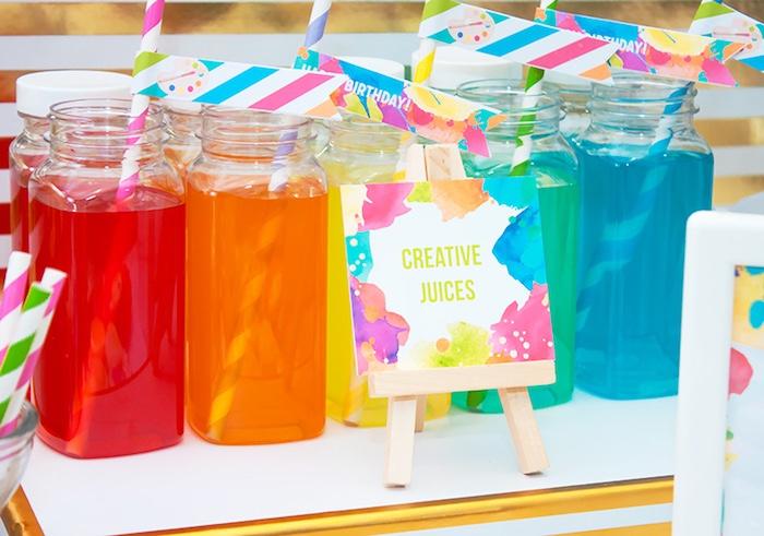 Plastic milk bottles from a Neon Art Themed Birthday Party via Kara's Party Ideas KarasPartyIdeas.com (5)