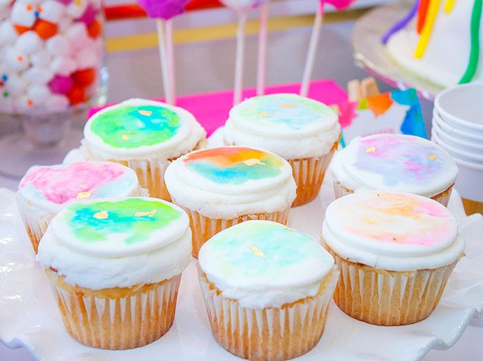 Watercolor cupcakes from a Neon Art Themed Birthday Party via Kara's Party Ideas KarasPartyIdeas.com (4)