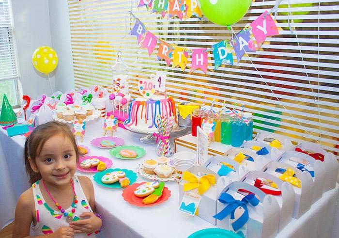 Party buffet table from a Neon Art Themed Birthday Party via Kara's Party Ideas KarasPartyIdeas.com (21)