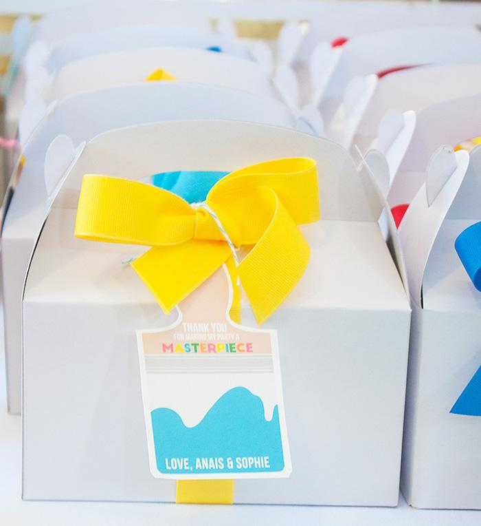 White gable favor boxes from a Neon Art Themed Birthday Party via Kara's Party Ideas KarasPartyIdeas.com (18)