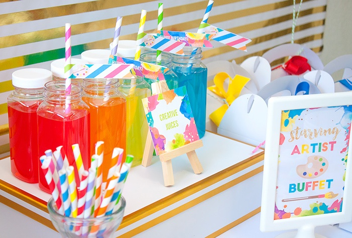 Rainbow drinks from a Neon Art Themed Birthday Party via Kara's Party Ideas KarasPartyIdeas.com (17)