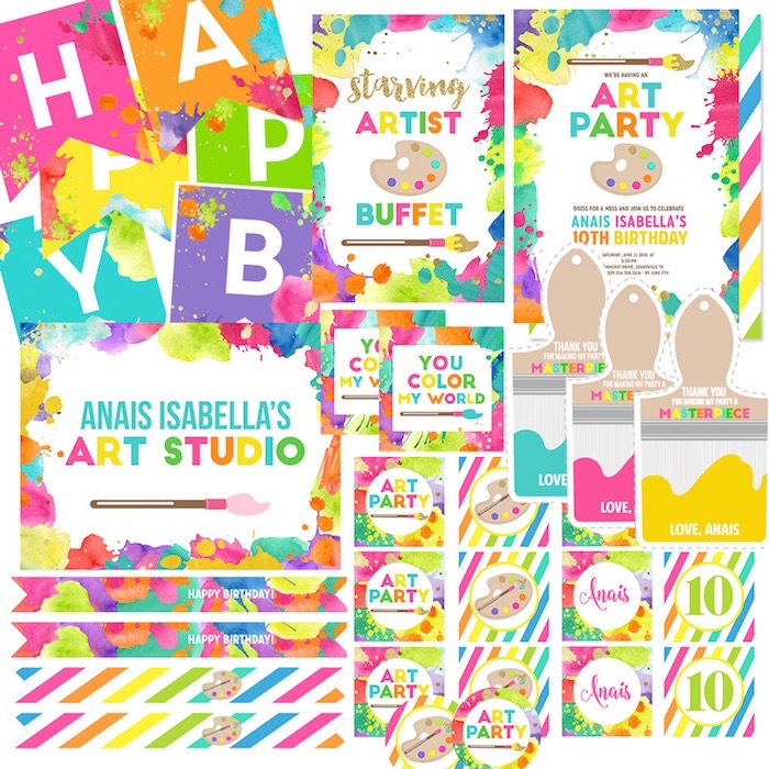 Art Party printable package from a Neon Art Themed Birthday Party via Kara's Party Ideas KarasPartyIdeas.com (16)