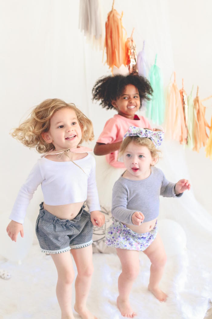Little girls from a Neutral Glam + Chic 3rd Birthday Party via Kara's Party Ideas | KarasPartyIdeas.com (10)