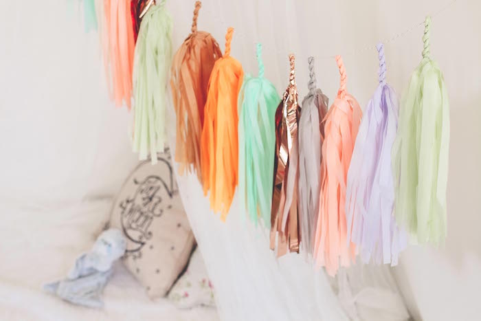 Chic tassel garland from a Neutral Glam + Chic 3rd Birthday Party via Kara's Party Ideas | The Place for All Things Party! KarasPartyIdeas.com