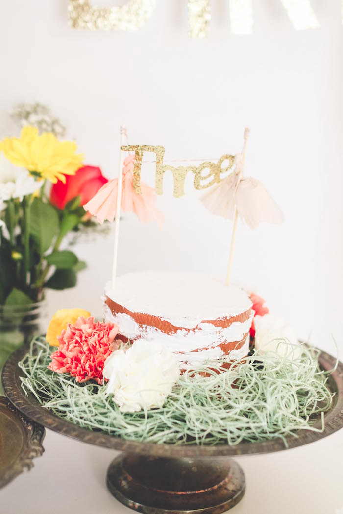 Adorable naked cake from a Neutral Glam + Chic 3rd Birthday Party via Kara's Party Ideas | KarasPartyIdeas.com (4)