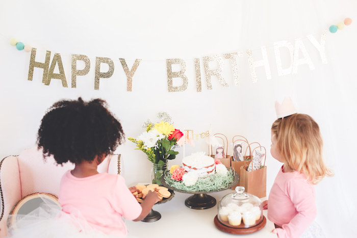 Sweet tablescape from a Neutral Glam + Chic 3rd Birthday Party via Kara's Party Ideas | KarasPartyIdeas.com (15)