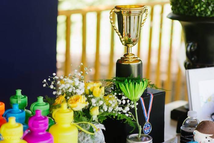 Trophy decor from an Olympic Gymnastics Themed Birthday Party via Kara's Party Ideas   KarasPartyIdeas.com (23)