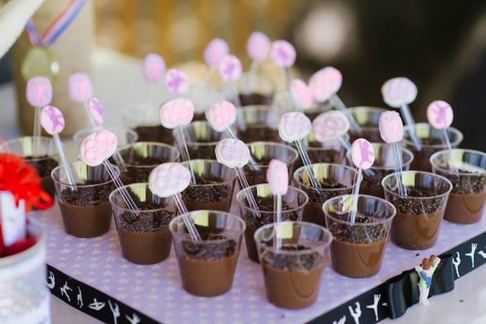 Dessert cups from an Olympic Gymnastics Themed Birthday Party via Kara's Party Ideas   KarasPartyIdeas.com (22)
