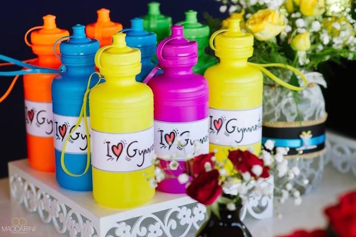 Water Bottles from an Olympic Gymnastics Themed Birthday Party via Kara's Party Ideas | KarasPartyIdeas.com (14)