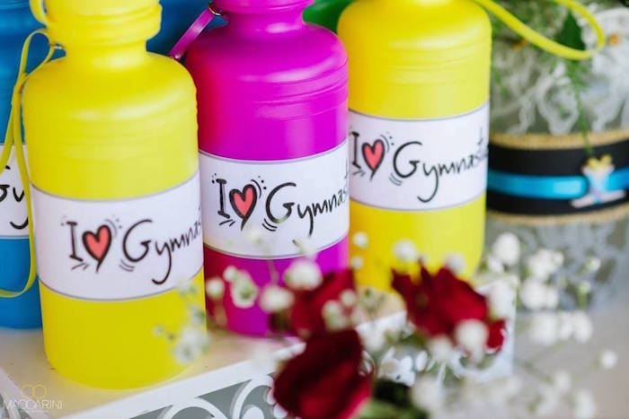 Water bottles from an Olympic Gymnastics Themed Birthday Party via Kara's Party Ideas | KarasPartyIdeas.com (9)