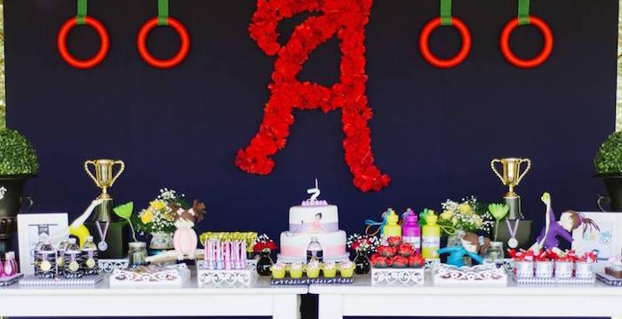 Dessert table from an Olympic Gymnastics Themed Birthday Party via Kara's Party Ideas   KarasPartyIdeas.com (8)
