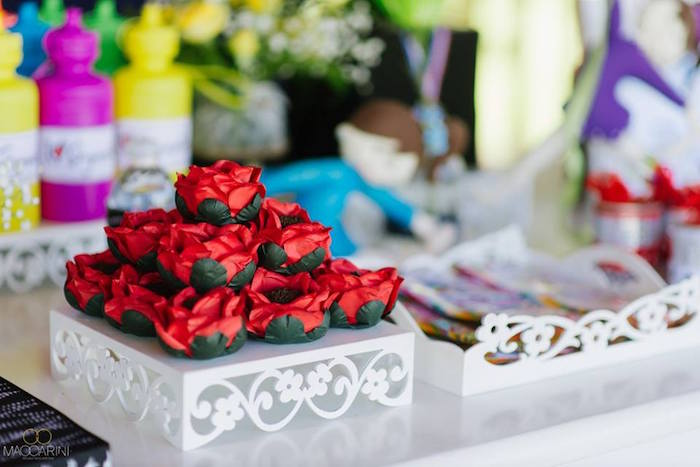 Rose brigadeiros from an Olympic Gymnastics Themed Birthday Party via Kara's Party Ideas   KarasPartyIdeas.com (6)