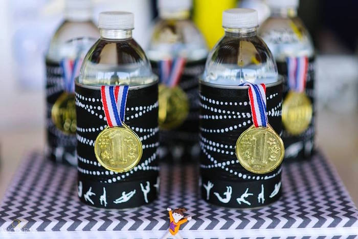 Water bottles from an Olympic Gymnastics Themed Birthday Party via Kara's Party Ideas | KarasPartyIdeas.com (5)
