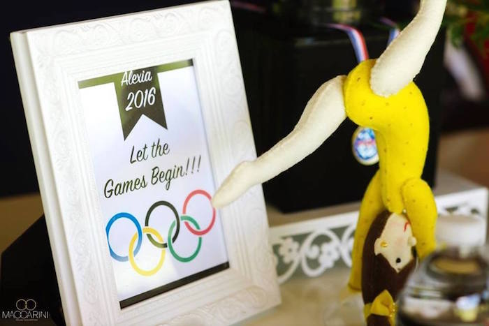 Party signage from an Olympic Gymnastics Themed Birthday Party via Kara's Party Ideas | KarasPartyIdeas.com (29)