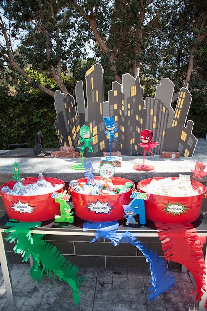 Party details from a PJ Masks Superhero Birthday Party via Kara's Party Ideas | KarasPartyIdeas.com (51)