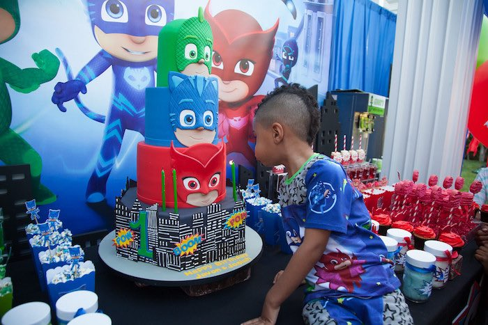 Party details from a PJ Masks Superhero Birthday Party via Kara's Party Ideas | KarasPartyIdeas.com (50)