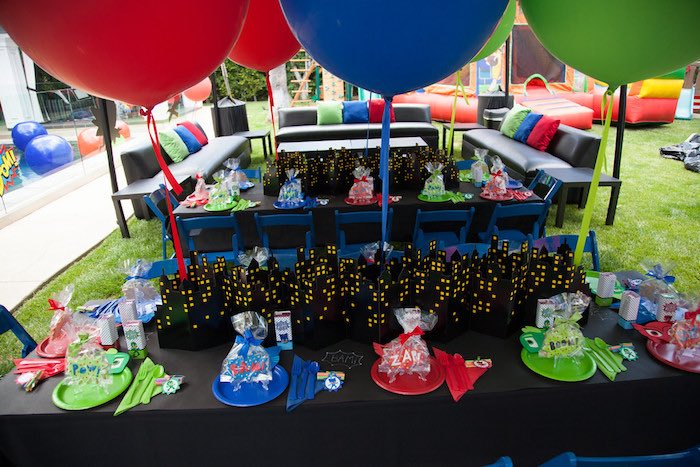 Party details from a PJ Masks Superhero Birthday Party via Kara's Party Ideas | KarasPartyIdeas.com (48)