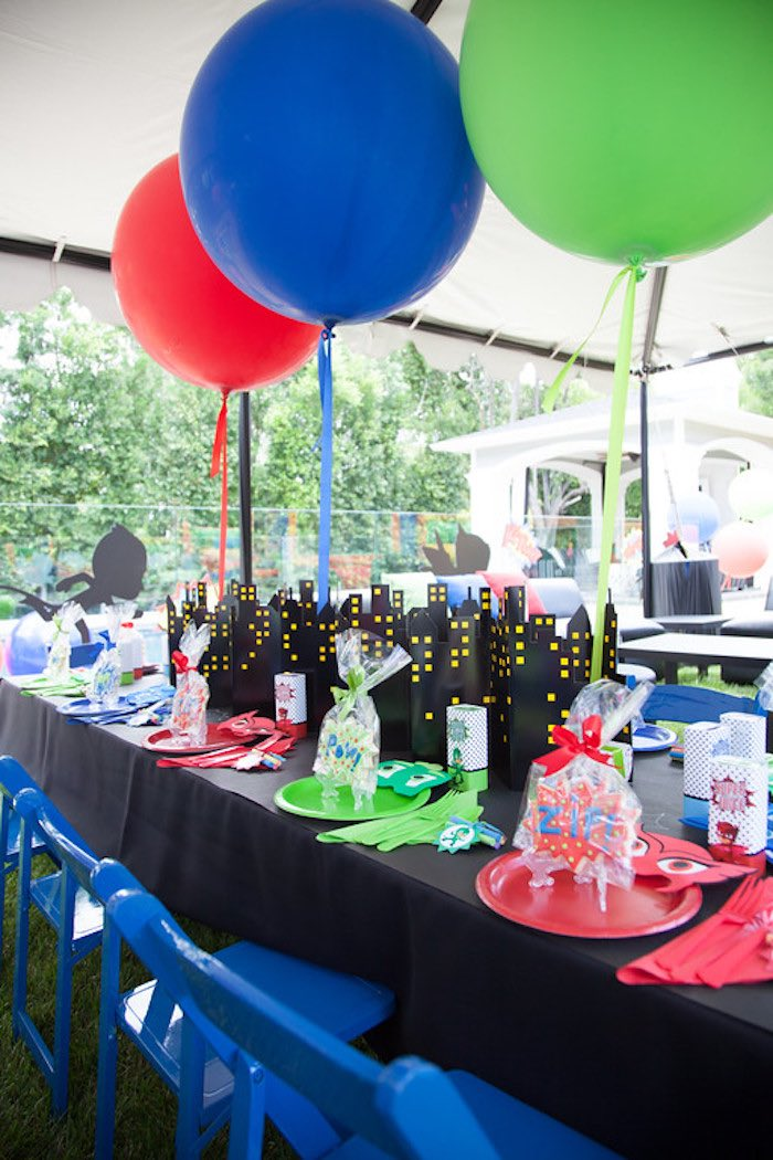 Party details from a PJ Masks Superhero Birthday Party via Kara's Party Ideas | KarasPartyIdeas.com (44)