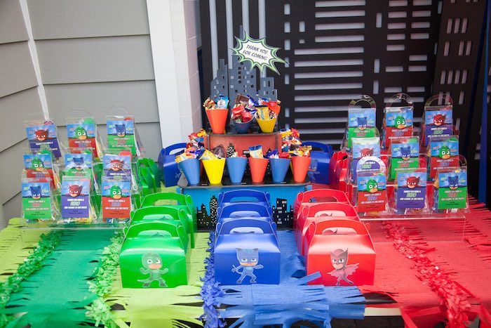Party details from a PJ Masks Superhero Birthday Party via Kara's Party Ideas | KarasPartyIdeas.com (37)