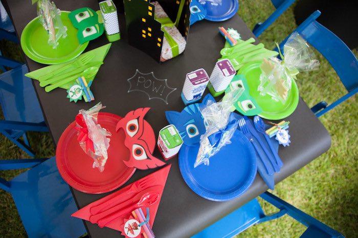 Party details from a PJ Masks Superhero Birthday Party via Kara's Party Ideas | KarasPartyIdeas.com (12)
