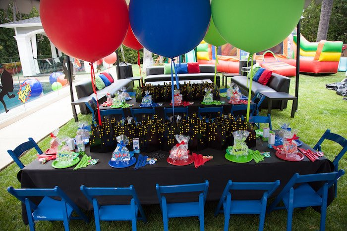Party details from a PJ Masks Superhero Birthday Party via Kara's Party Ideas | KarasPartyIdeas.com (9)