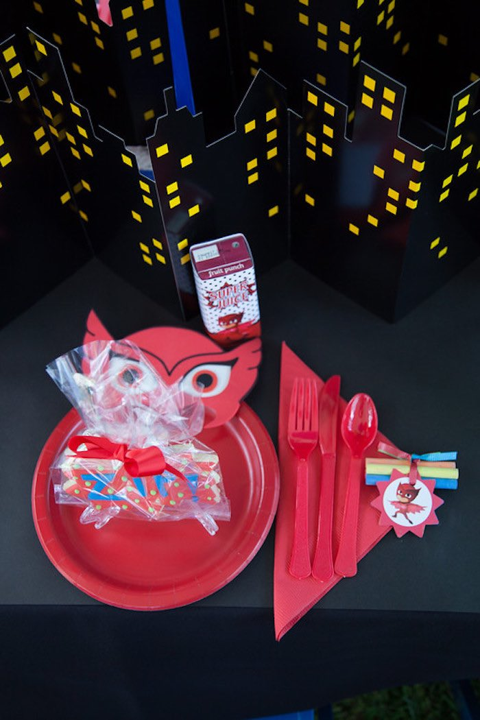 Party details from a PJ Masks Superhero Birthday Party via Kara's Party Ideas | KarasPartyIdeas.com (8)