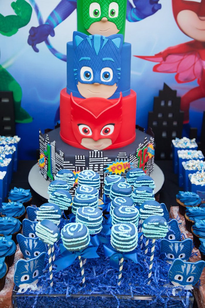 Party details from a PJ Masks Superhero Birthday Party via Kara's Party Ideas | KarasPartyIdeas.com (5)