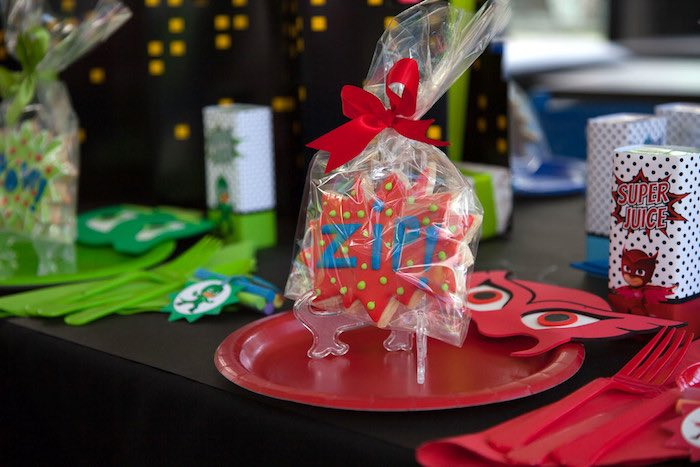Party details from a PJ Masks Superhero Birthday Party via Kara's Party Ideas | KarasPartyIdeas.com (56)