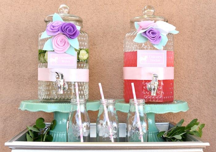 Drink table from a Pastel Unicorn Themed Birthday Party via Kara's Party Ideas | KarasPartyIdeas.com (25)