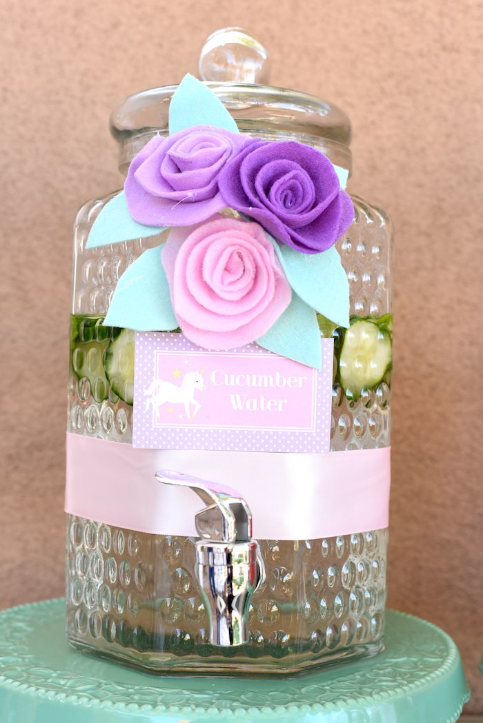 Beverage dispenser from a Pastel Unicorn Themed Birthday Party via Kara's Party Ideas | KarasPartyIdeas.com (24)