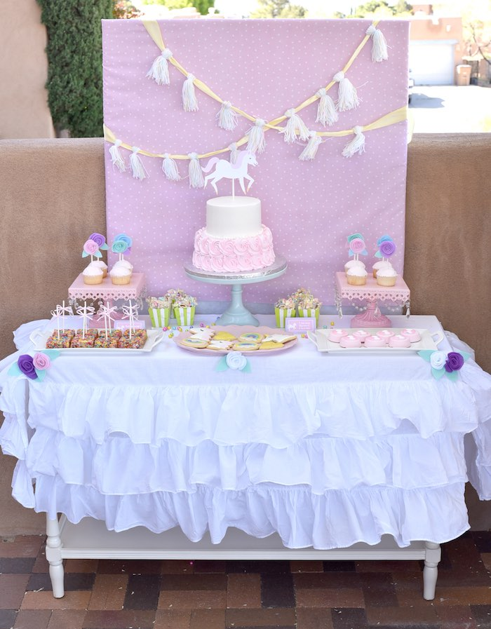 Dessert Table From A Pastel Unicorn Themed Birthday Party Via Karas Ideas