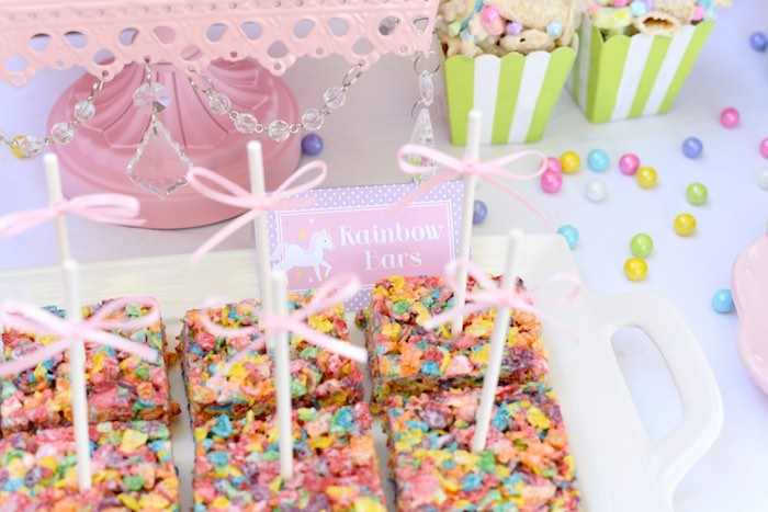 Rainbow bars from a Pastel Unicorn Themed Birthday Party via Kara's Party Ideas | KarasPartyIdeas.com (21)
