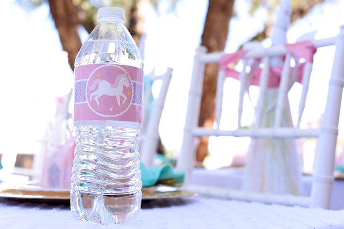 Water bottle from a Pastel Unicorn Themed Birthday Party via Kara's Party Ideas | KarasPartyIdeas.com (13)