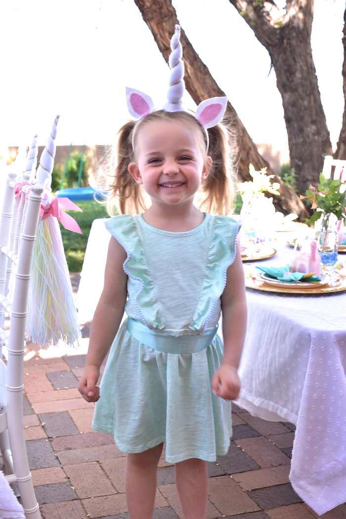 Little girl from a Pastel Unicorn Themed Birthday Party via Kara's Party Ideas | KarasPartyIdeas.com (8)