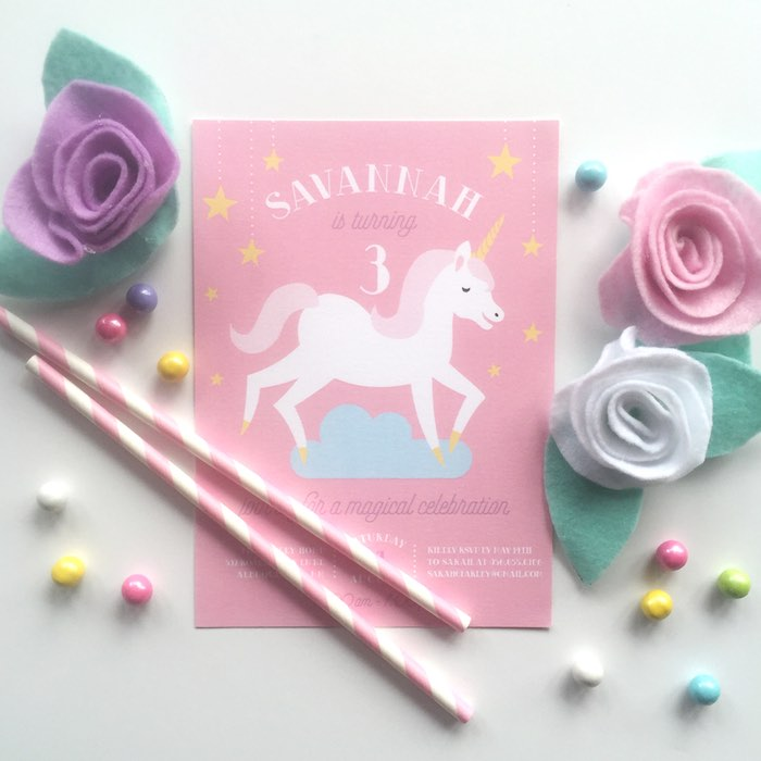 Unicorn Party Invitation from a Pastel Unicorn Themed Birthday Party via Kara's Party Ideas | KarasPartyIdeas.com (4)