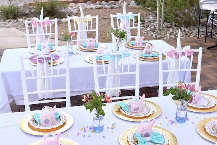 Guest tables from a Pastel Unicorn Themed Birthday Party via Kara's Party Ideas | KarasPartyIdeas.com (30)
