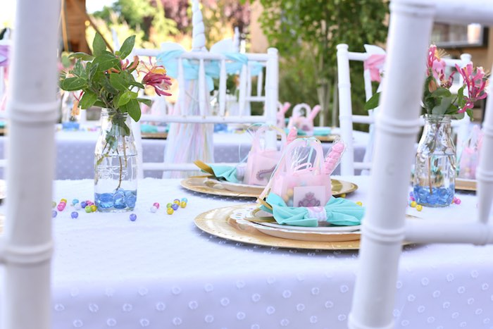 Dining tablescape from a Pastel Unicorn Themed Birthday Party via Kara's Party Ideas | KarasPartyIdeas.com (29)