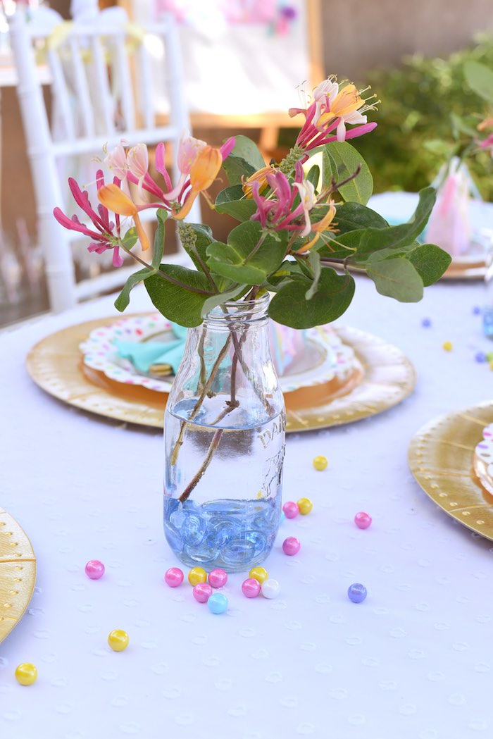 Centerpiece from a Pastel Unicorn Themed Birthday Party via Kara's Party Ideas | KarasPartyIdeas.com (27)