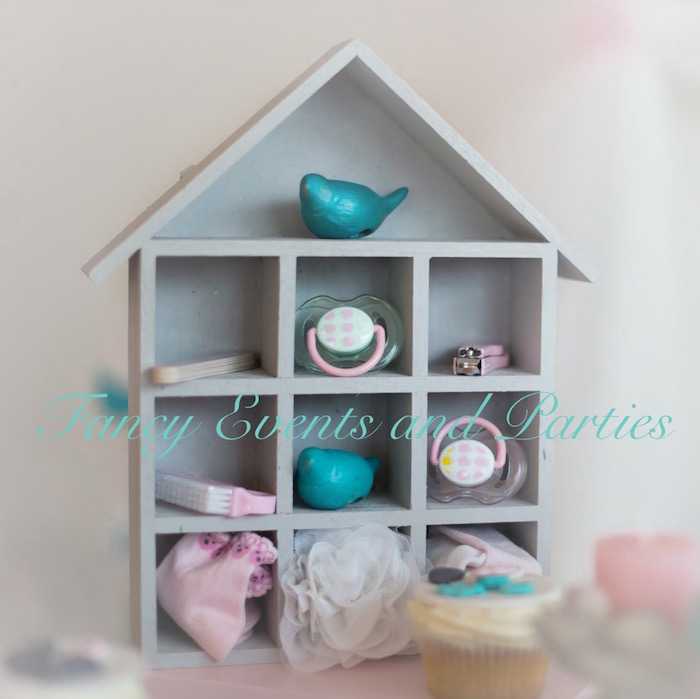 Bird house shelf from a Pastel Woodland Baby Shower via Kara's Party Ideas KarasPartyIdeas.com (5)